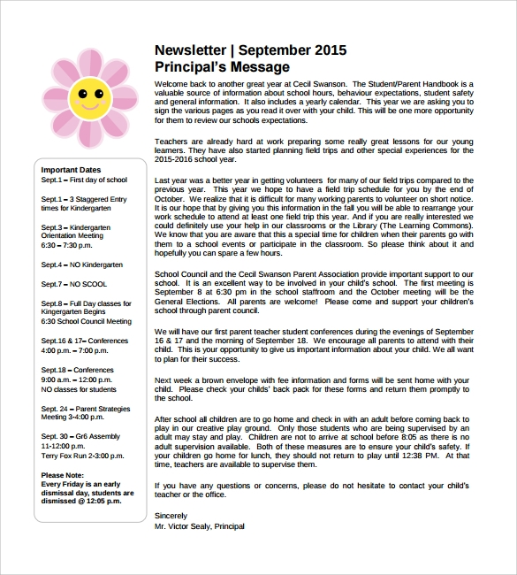 School Newsletter Template PDF
