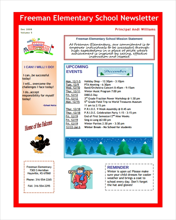 Good Elementary School Newsletter Template To Example Of Newsletter Templates