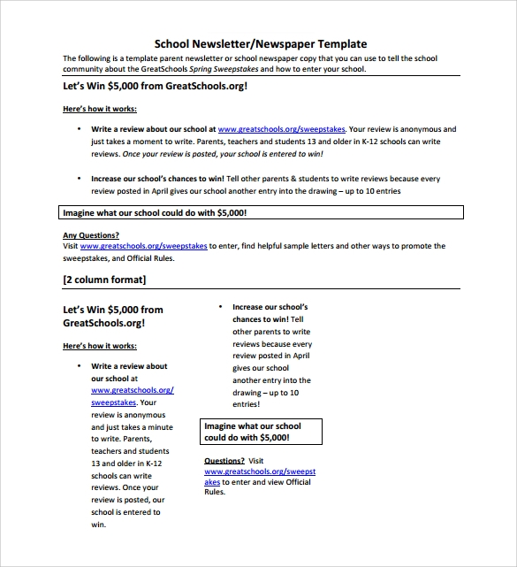 Sample School Newsletter Template - 8+ Download Documents In Pdf , Psd