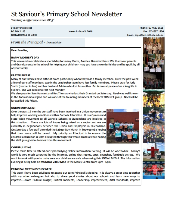 Sample School Newsletter Template   Download Documents In Pdf  Psd