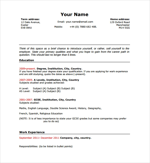 Sample Resume Template For Students In University   Free