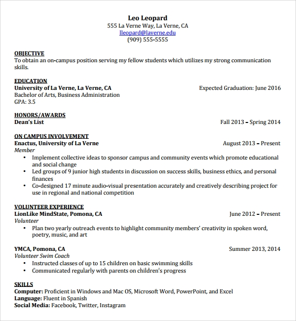 sample resume template for students in university