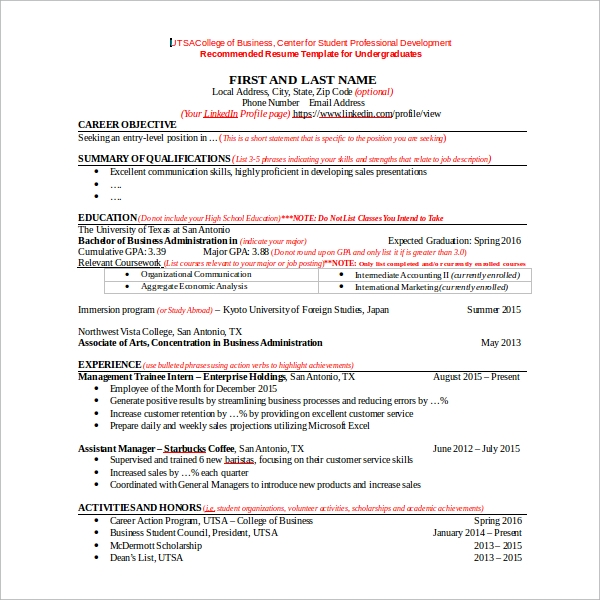 Sample Resume Template for Students in University 9 Free – Resume Templates for Students in University