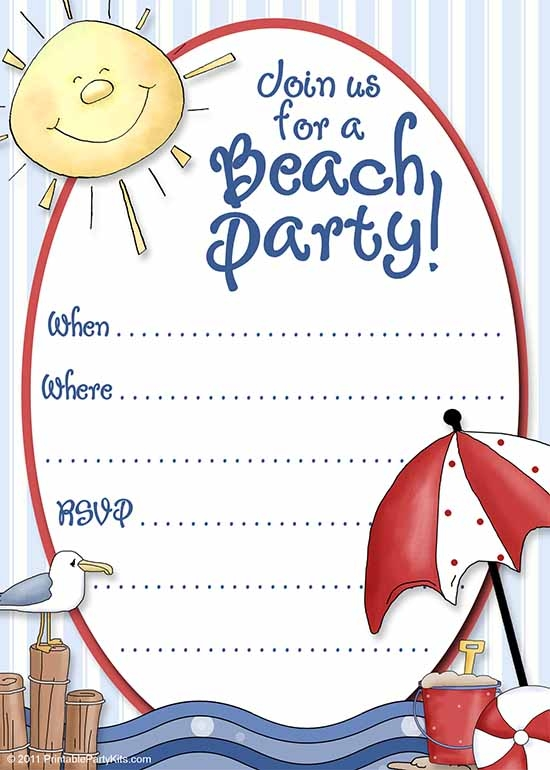 Smart image inside beach party invitations free printable