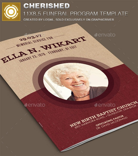 cherished funeral program template