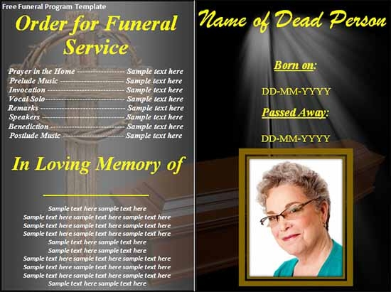 Sample Funeral Program Template   Download Free Documents In