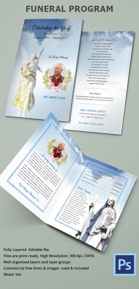 funeral program bifold psd