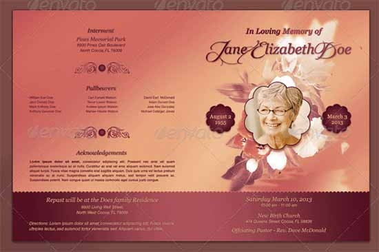 Sample Funeral Program Template 30 Download Free Documents in – Obituary Program Template