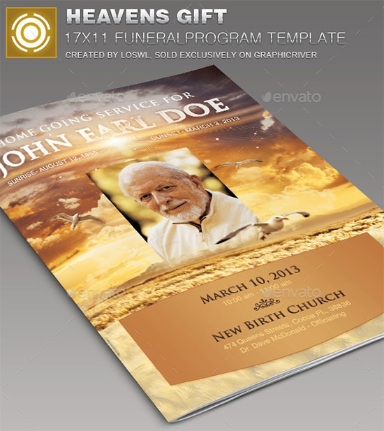 heaven's gift funeral program template