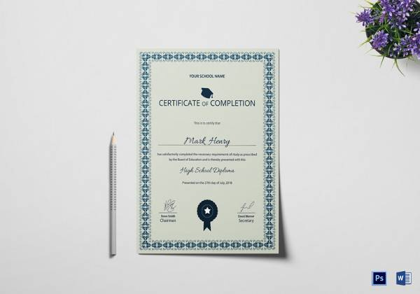 high school diploma completion certificate