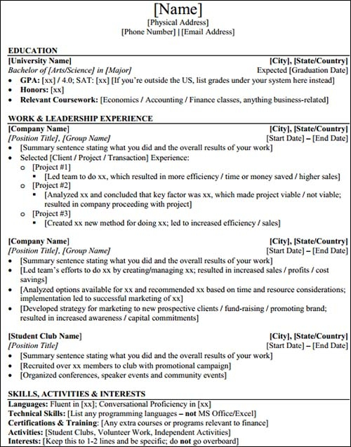 5 best resume templates for students in