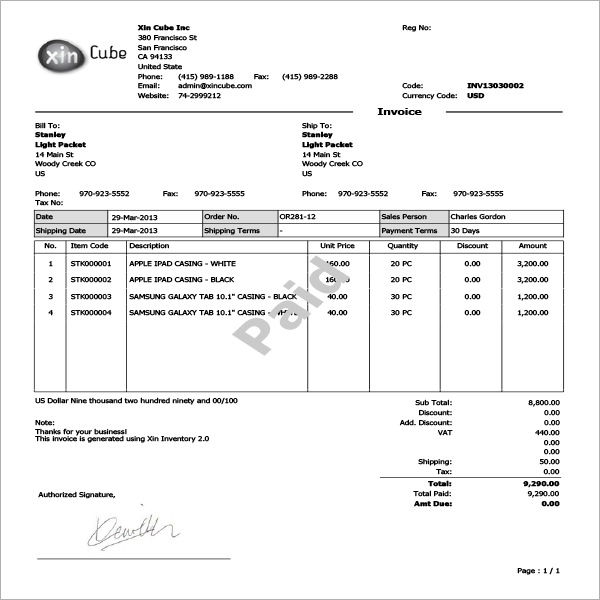 sample invoice template word document .