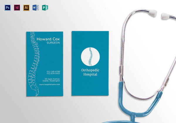 medical orthopedist business card template