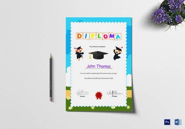 preschool diploma graduation certificate template