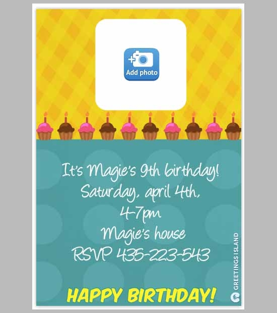printable birthday invitation cup cake template