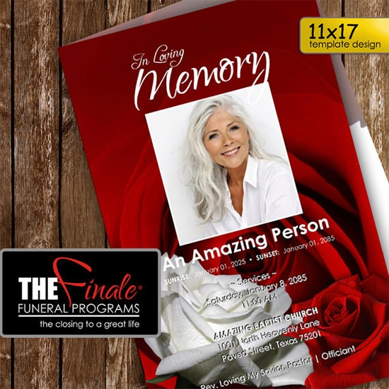 red and white roseville funeral program template