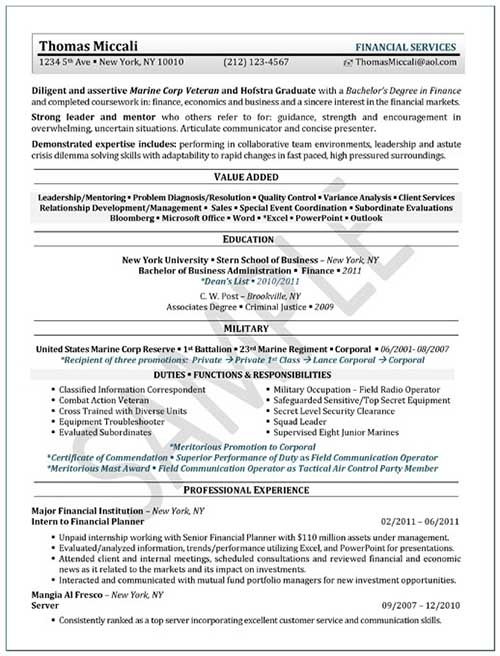 Resume Template Internship