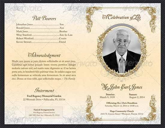 Simple Funeral Program Template Free. Funeral Booklet Template .  Free Funeral Templates For Word