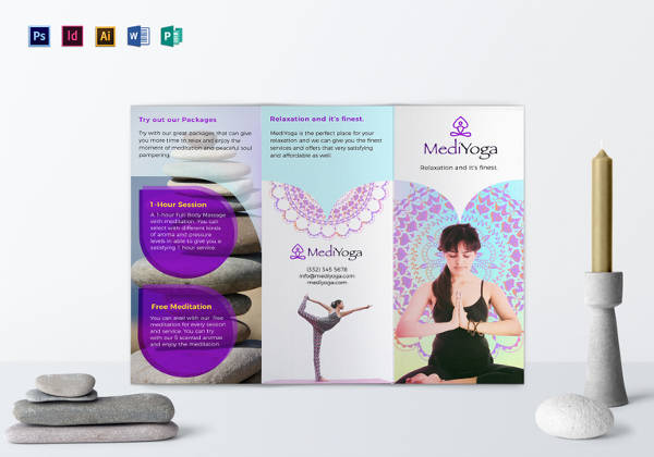 20 best gym brochure templates sample templates for Yoga brochure templates