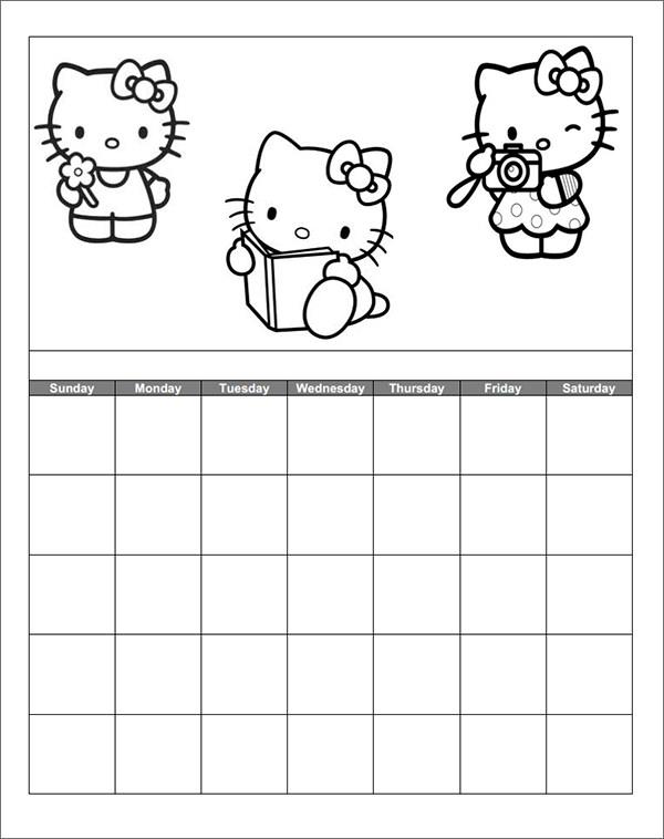 Elegant Kindergarten Hello Kittu Calendar Template