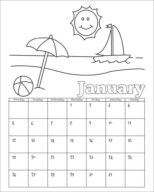 Calendar Design For Kindergarten : Sample calendar templates for kindergarten