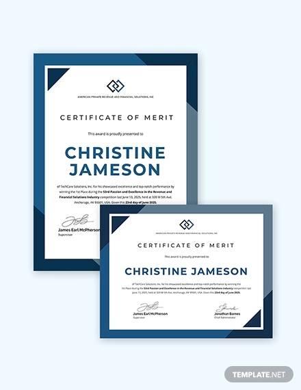 school certificate of merit