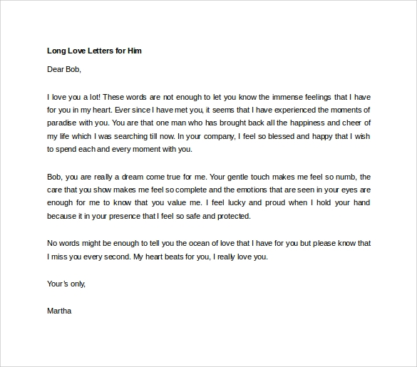 Sample of love letter for him
