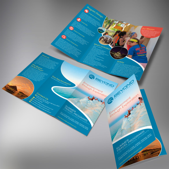 Beyond Student Travel Trifold Brochure AI Format Download