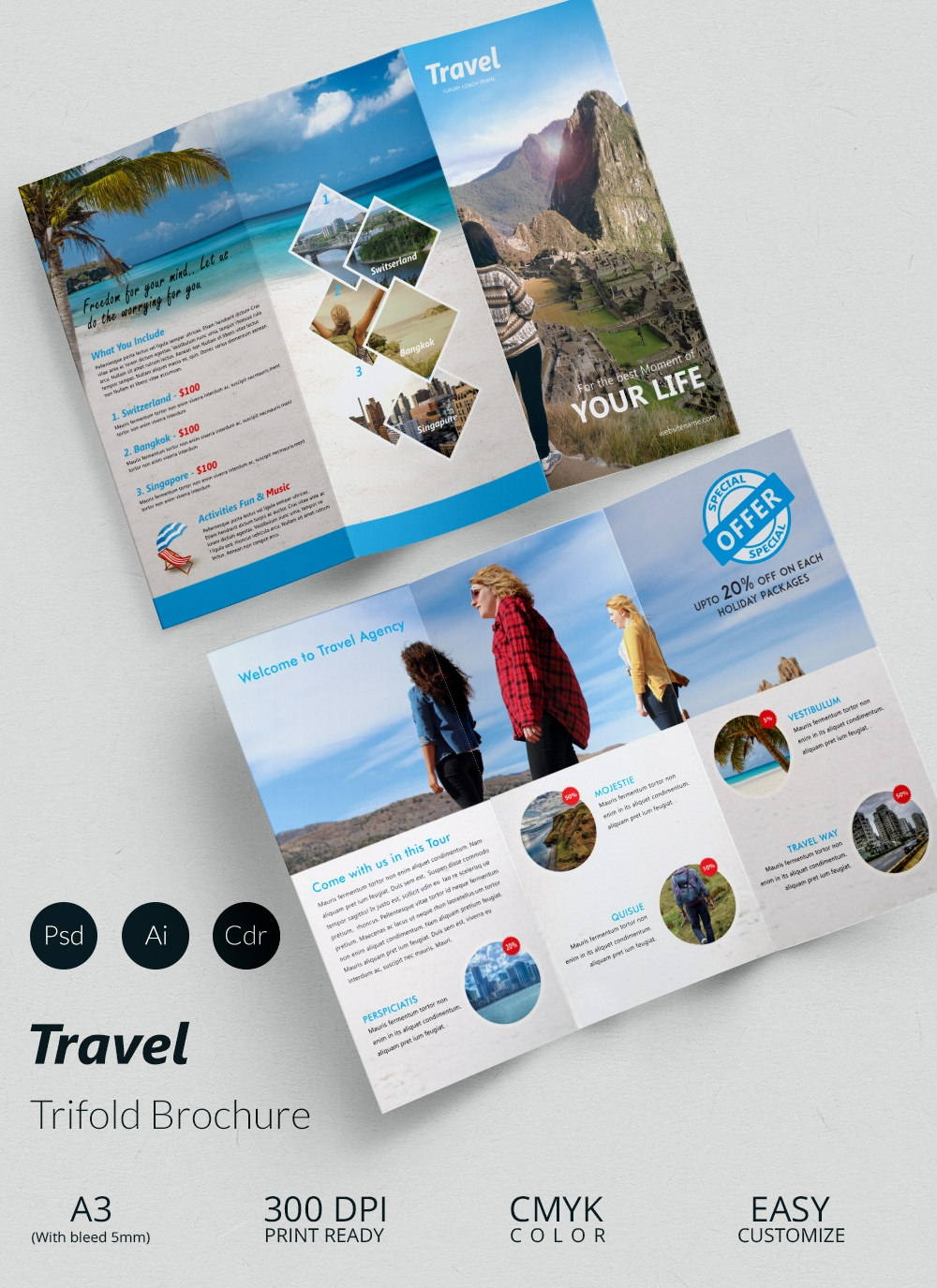 Travel brochure templates 21 download in psd vector for Travel brochure design templates