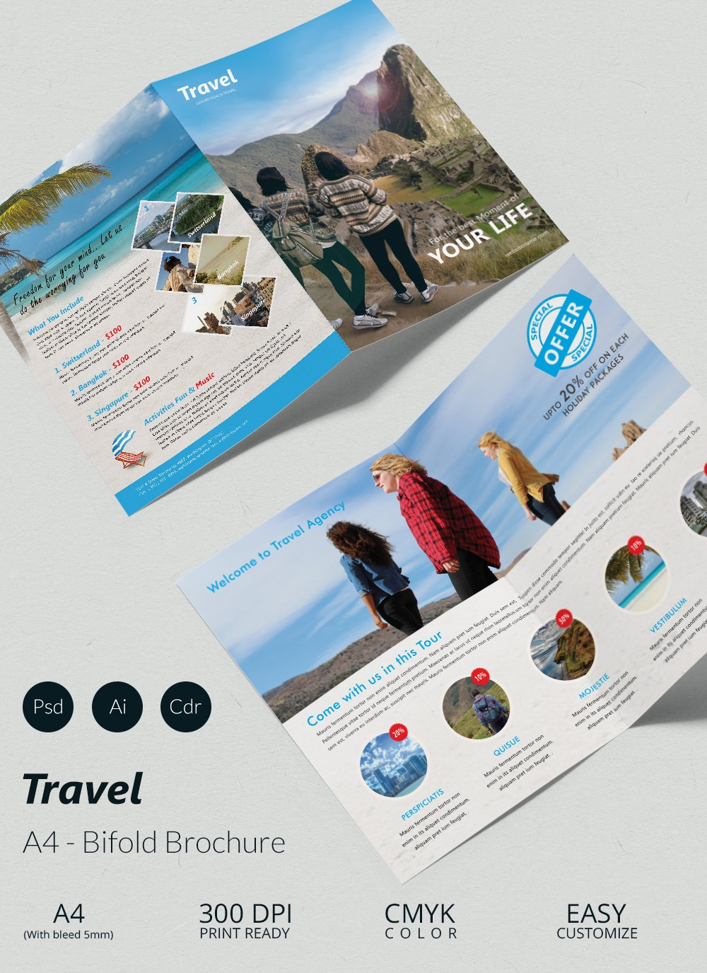 Travel Agency Brochure Template By Casey Zumwalt  Vts