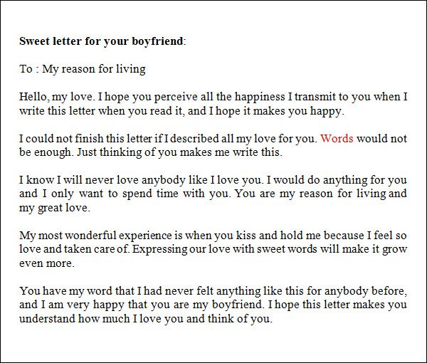 Sample Love Letters To Boyfriend