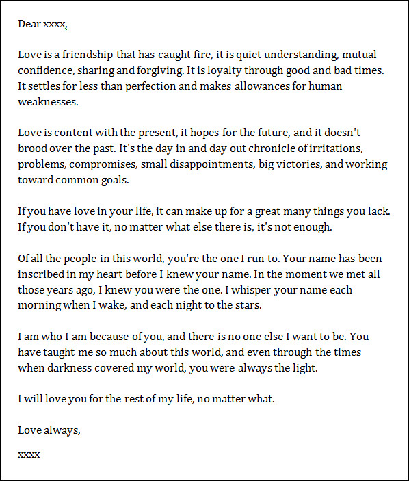 Sample Love Letter Love Letter Templates Free Sample Example Format