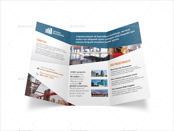 construction company trifold brochure