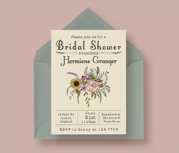 wildflower bridal shower invitation
