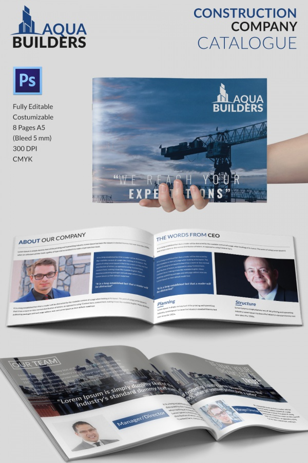 Best Company Brochure Template Download In PSDVector EPS - Construction brochure templates