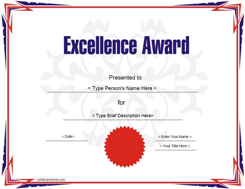 award certificate template for excellece