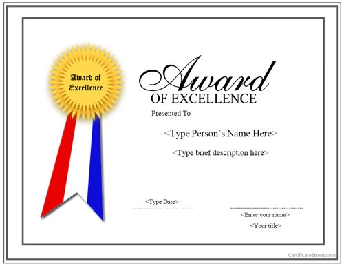 Award Certificate For Kids Template For Word Amazing free – Certificate of Excellence Wording