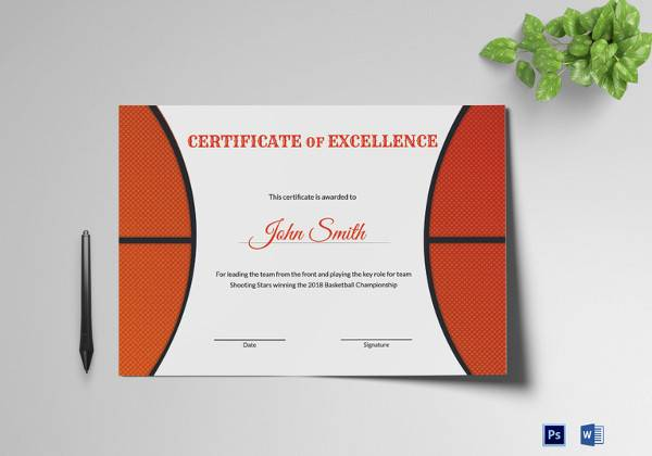 basketball excellence award certificate in word