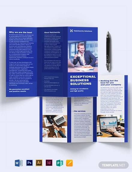 business company tri fold brochure template