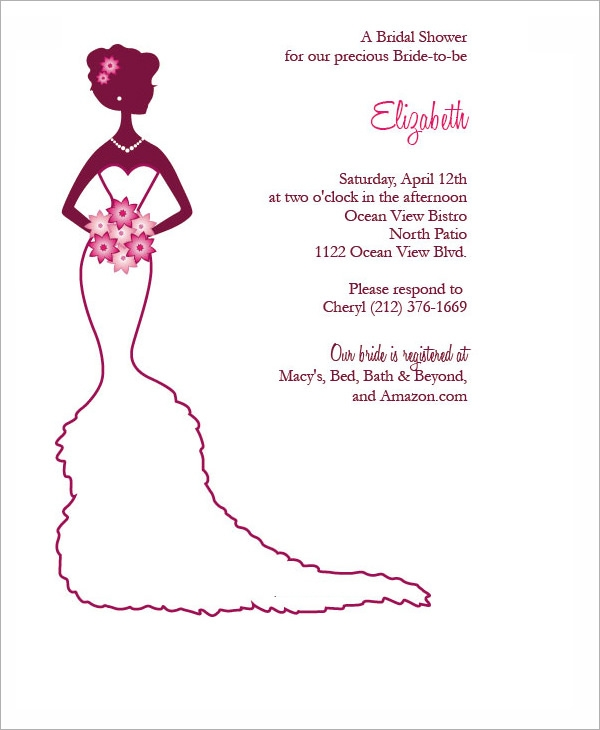 Free Bridal Shower Invitations gangcraftnet – Sample of Bridal Shower Invitation