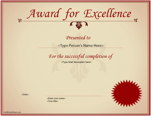 23 best award certificate templates sample templates for Length of service certificate template