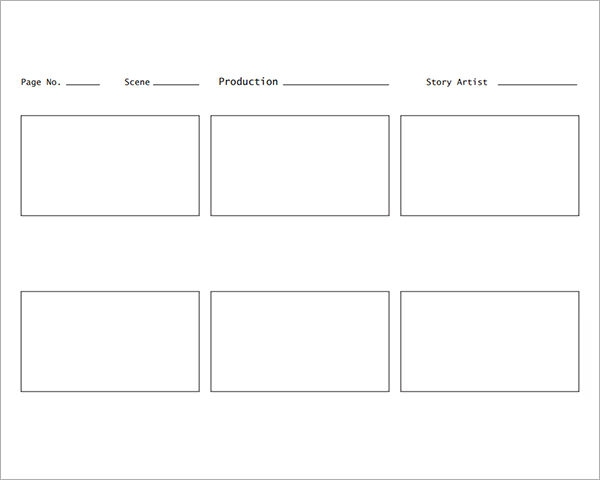 film storyboard template 16x9 blank