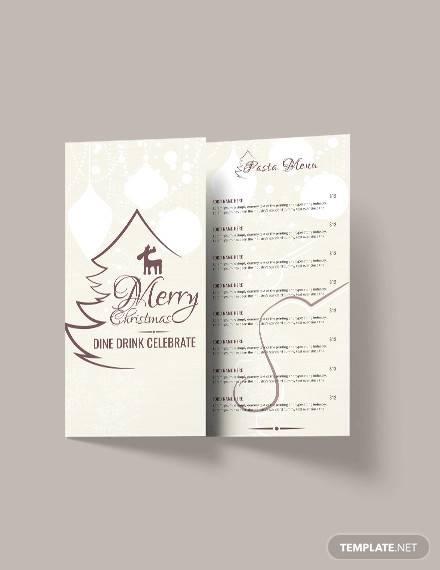 free christmas restaurant menu brochure template