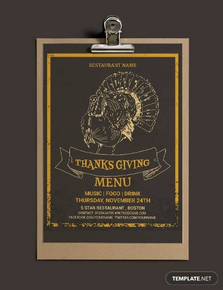 free thanksgiving restaurant party menu template