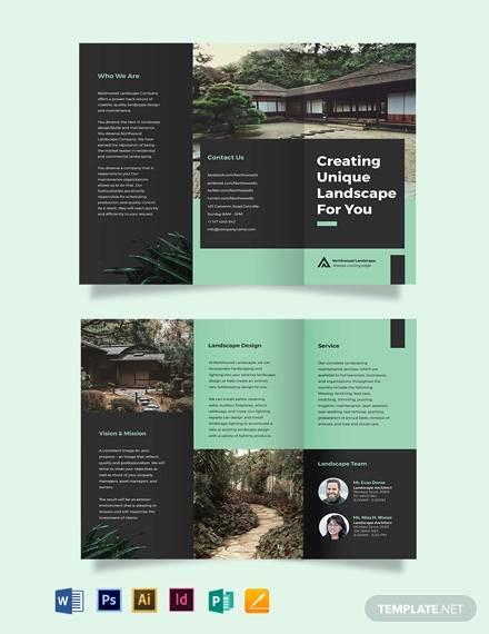 landscape company tri fold brochure template