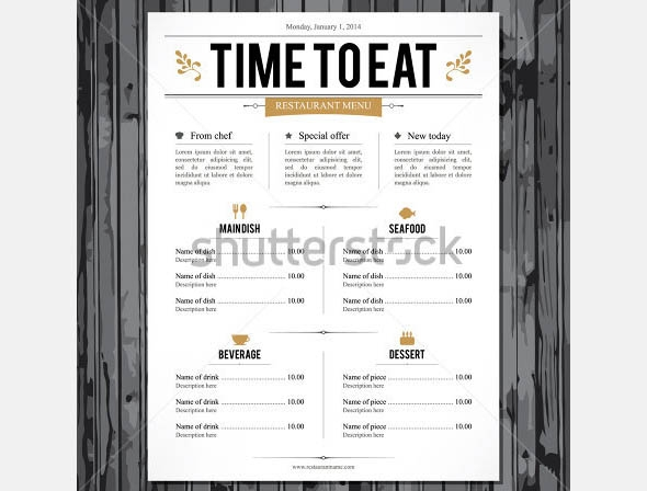 restaurant menu design new