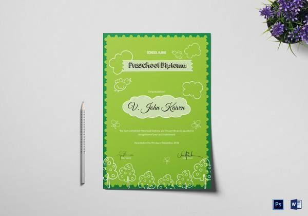 sample preschool award certificate