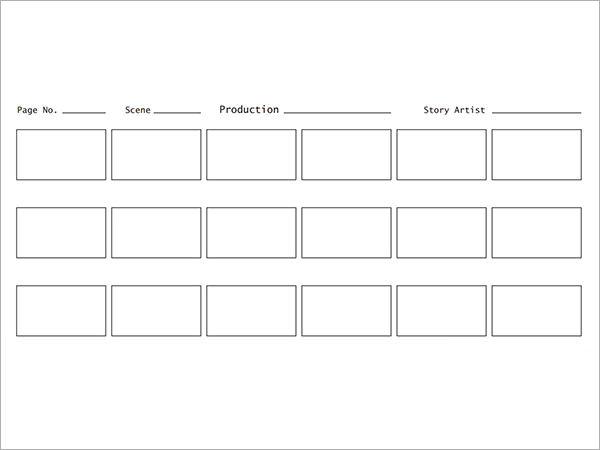 blank storyboard template word .
