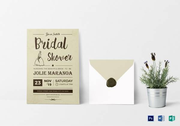 vintage bridal shower invitation card