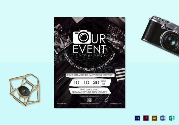 vintage photography event flyer template